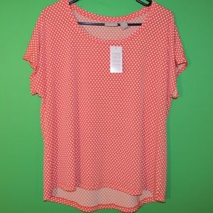 Chico's Womens Size 2 Orange Polka Dot Shirt NEW